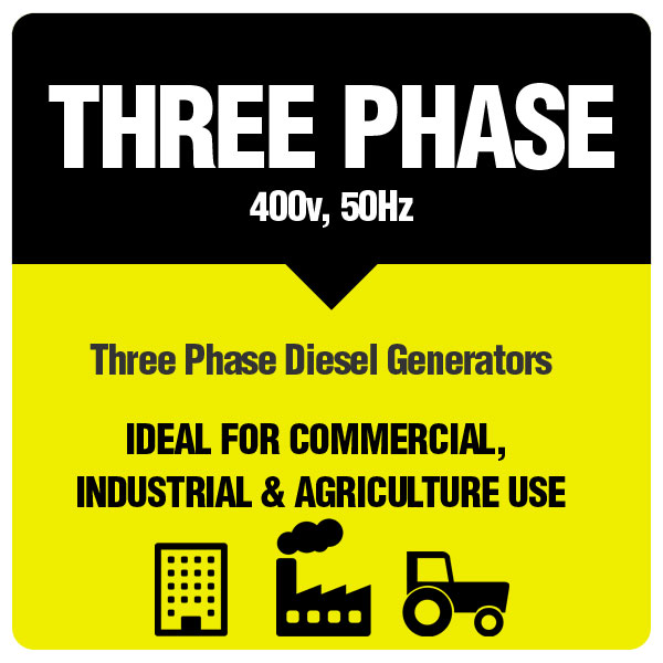 Three Phase Generators for commercial, industrial and agricultural use